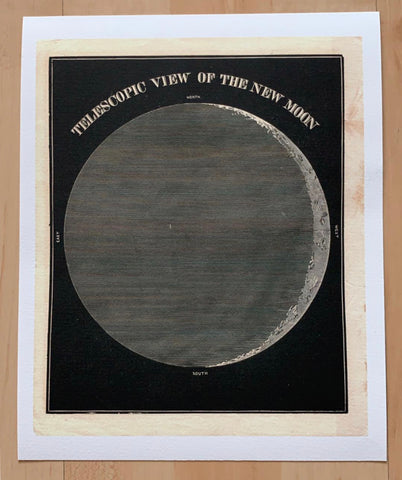 Illustrated Astronomy Print, The Moon