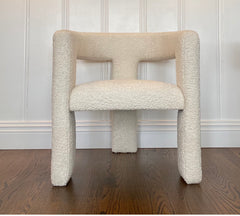 Pair, Tripod Chairs in Cream Faux Shearling