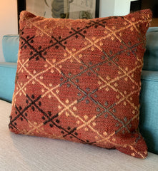 Pair, Vintage Patterned Kilim Pillows No. 2