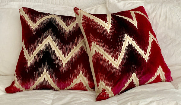 Pair, Shock Wave Velvet Pillow in Ruby
