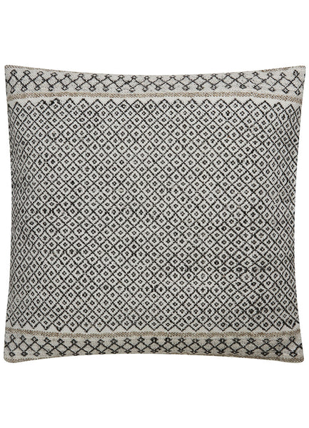 Bamboo and Wool Patterned Pillow in Raven