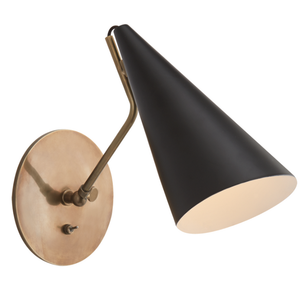 Clemente Wall Lamp, Black and Brass