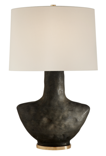 Stained Black Ceramic Table Lamp