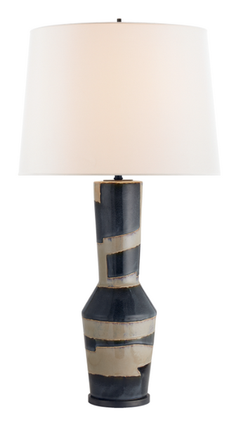 Sand and Black Striped Table Lamp