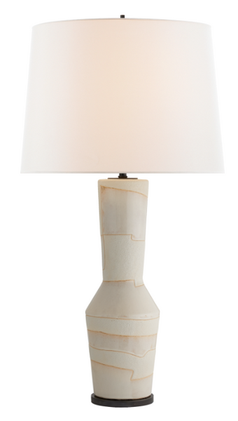 Porous White Striped Table Lamp