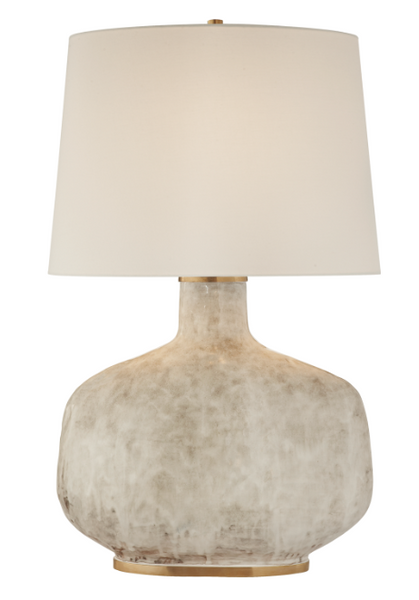Antiqued White Ceramic Table Lamp