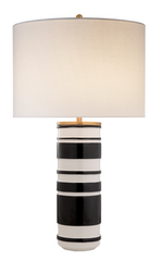 Sculpted Cylinder Table Lamp in White Leather Ceramic and Satin Black