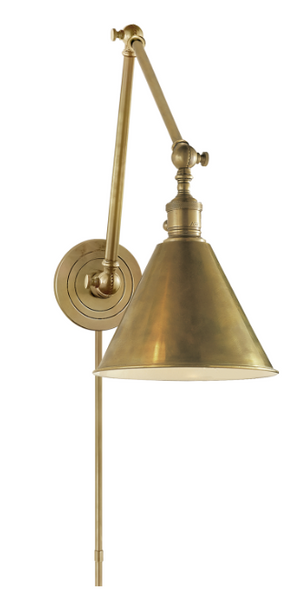 Double Arm Boston Library Light, Antiqued Brass