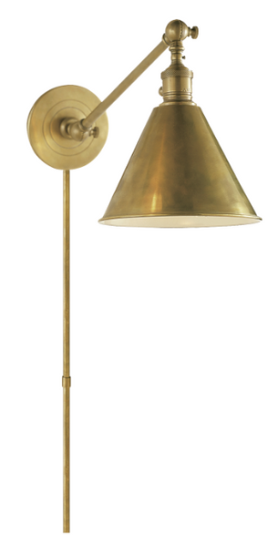 Single Arm Boston Library Light, Antiqued Brass