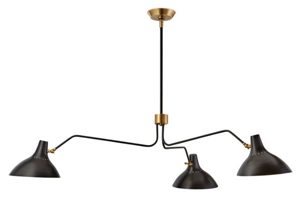Charlton Large Triple Arm Chandelier in Bronze and Brass