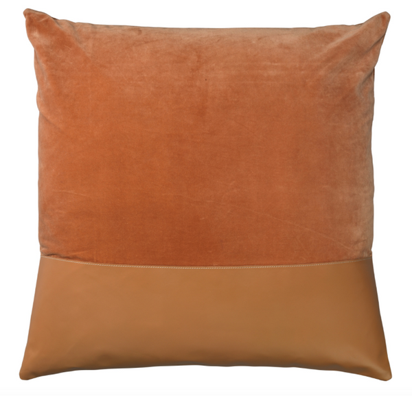 Aria Leather & Velvet Pillow, Buff
