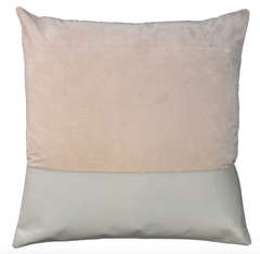 Aria Leather & Velvet Pillow, Grey