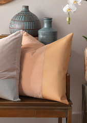 Aria Leather & Velvet Pillow, Nude
