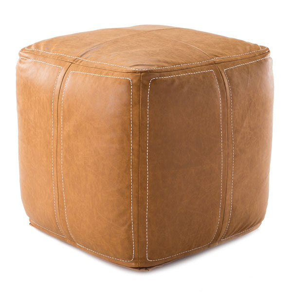 Faux Leather Pouf, Camel