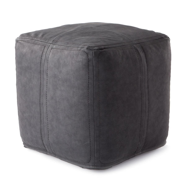 Faux Leather Pouf, Charcoal