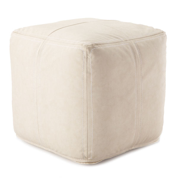 Faux Leather Pouf, Cream