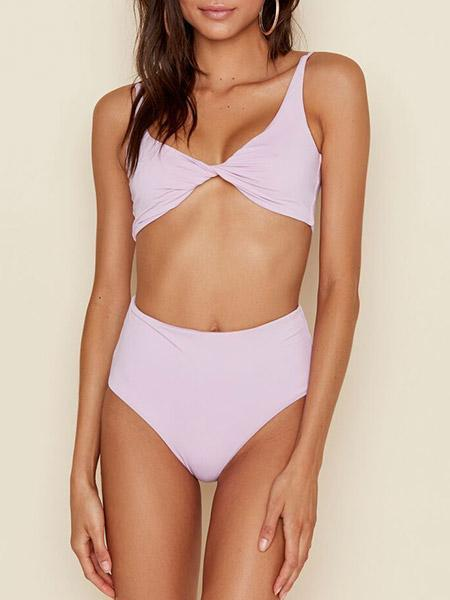 Two Way Twist Front Bikini Sets - Lilac