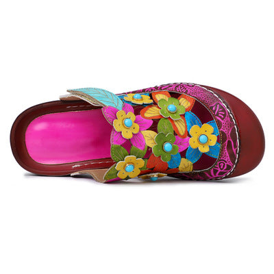 Handmade Flower Pattern Casual Round Head Slippers