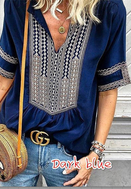 Ethnic Style Striped V Neck ladies Casual Shirt