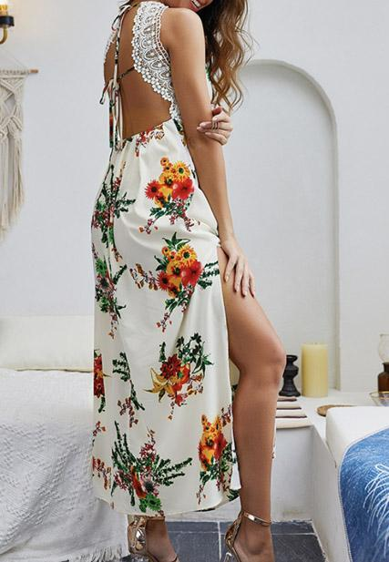 High Waist Lace V Neck Printed Dresses