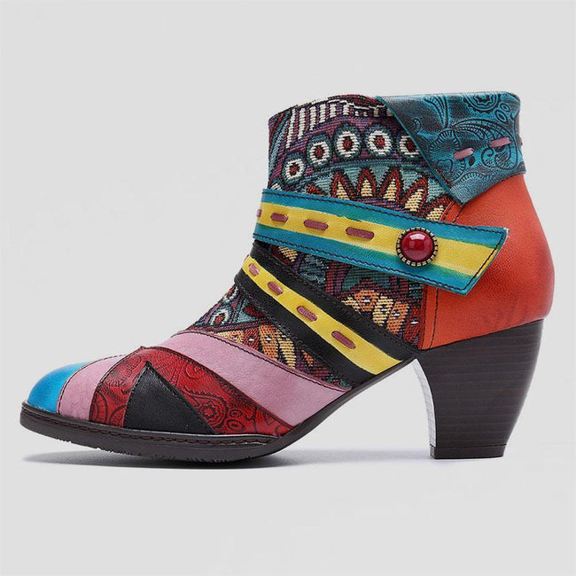 Lliyah Bohemian Color Match Splicing Pattern Zipper Ankle Leather Boots