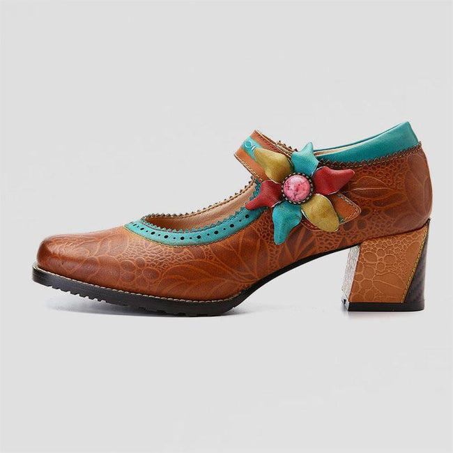 Retro Flower Leather Pumps Mary Jane