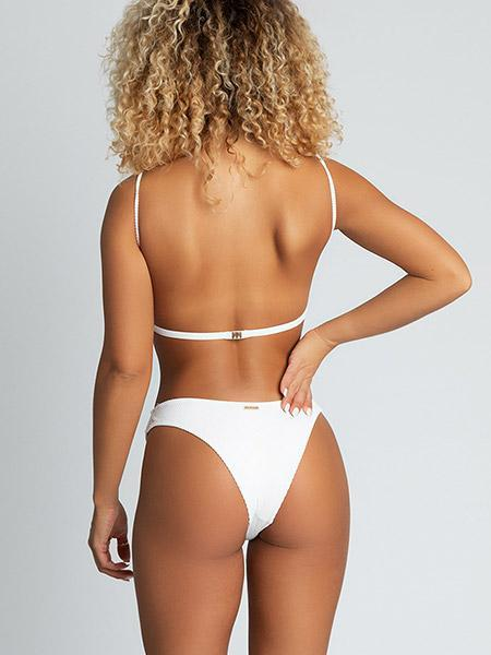 Amayah Ribbed Thin Strap Bikini Bikini Sets White