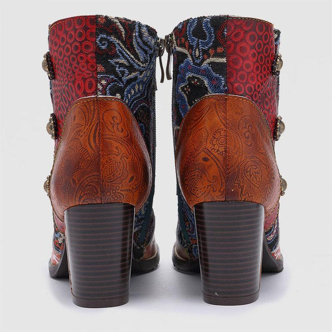 New Fashion Handmade Leather Stitching Jacquard Craft Women's Boots