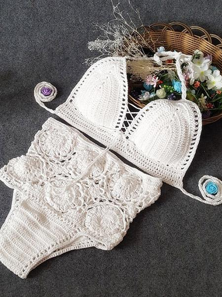 Wool knitted Crochet swimsuit high waist swimsuit pure color lady Crochet hollow split bikini suit