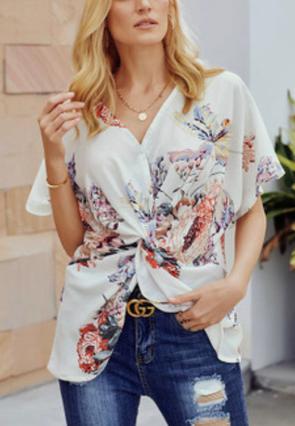 Sleeve V Neck Loose Knotted Shirt