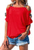 Women Solid Color Cutout Short Sleeve Off Shoulder Top