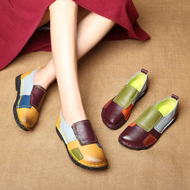 Genuine Leather Cute Mixed-color Soft Ballet Flats