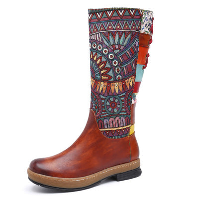 Bohemian Leather Splicing Pattern High Tube Boots