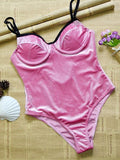 Swimsuit With Steel Bracket And Gold Velvet