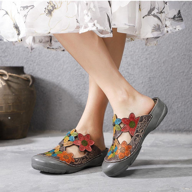 Flower Pattern Handmade Leather Comfortable Casual Sandals