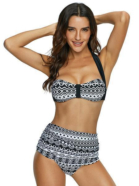 Sexy Women Bikini Set Off Shoulder Solid Bandage Push Up Padded Swimsuits