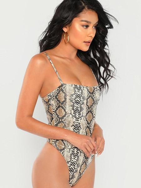Snakeskin Form Fitted Bodysuit