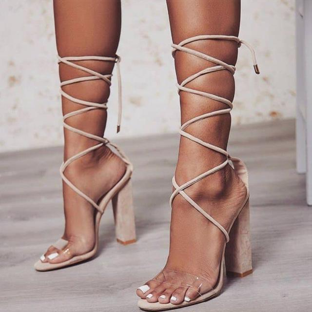 Paillette High Heel Bandage Sandals