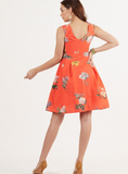 Coral Orange Floral Printed Fit and Flare Dress