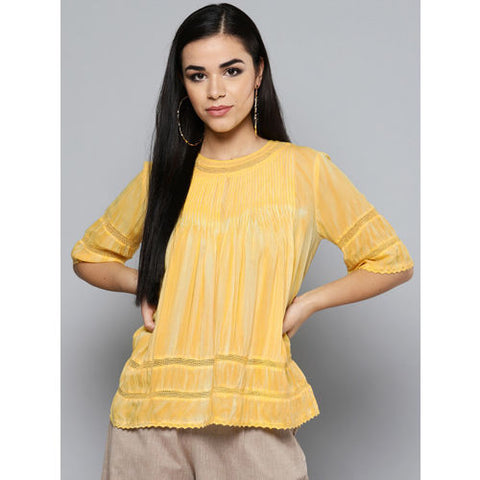Yellow Lace Insert Top
