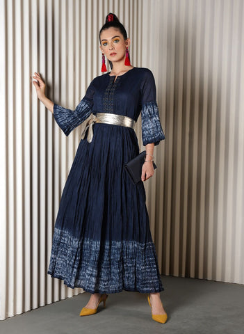 Navy Blue Embellished Maxi Kurta
