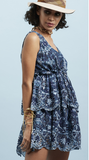 Indigo Blue Schiffly Layered Dress