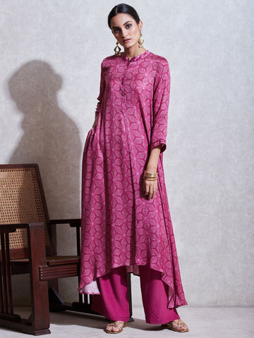 Magenta Printed Kurta With Palazzos