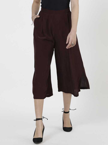Brown Poly Crepe Trousers