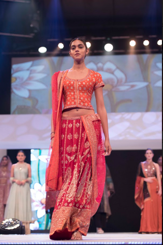 Coral Embroidered Lehenga With Chunni