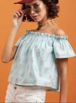 Off shoulder Round Neck Half Sleeves Top - Turquoise