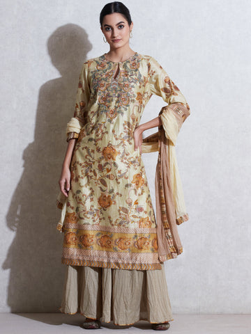 Cream Floral Print Chanderi Suit Set
