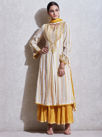 Ecru Embroidered Cotton Suit Set