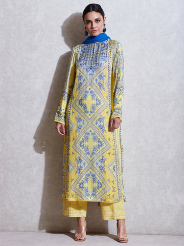 Lemon Yellow Printed Suit Set