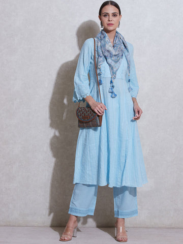 Blue Cotton Kurta Set
